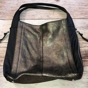 Tano Bags - TANO Leather Tote/Handbag Black/Pewter Metallic